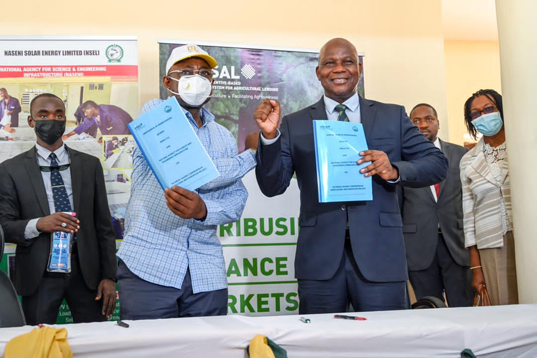 L-R Executive Vice Chairman NASENI, Engr. Prof. Mohammed Sani Haruna, and MD/CEO NIRSAL, Aliyu Abdulhameed during the signing of the partnership in Abuja.