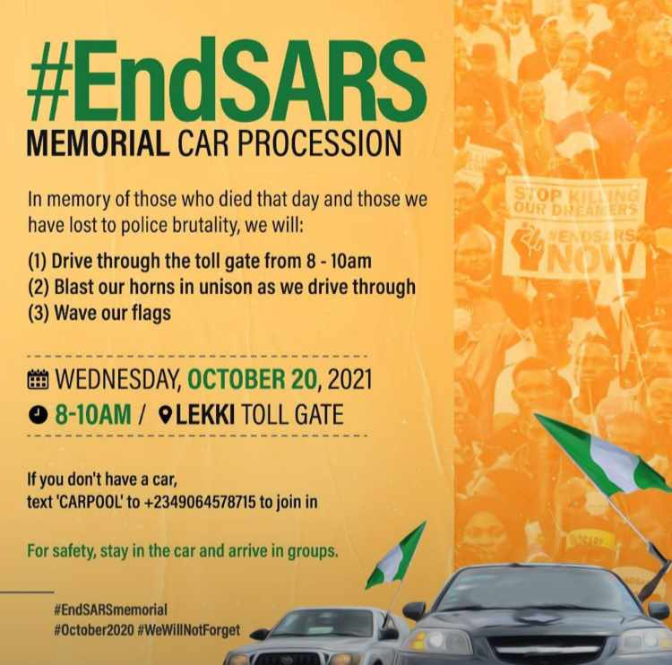 EndSars Memorial: Protesters To Hold Car Procession